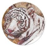 White Tiger Cartoon Party Plates