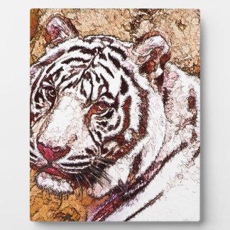 White Tiger Cartoon Plaque