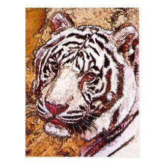 White Tiger Cartoon Postcard