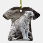 White Tiger Christmas Ornament
