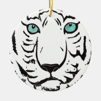 White Tiger Circle Ornament