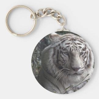 White Tiger Close-up Basic Round Button Keychain