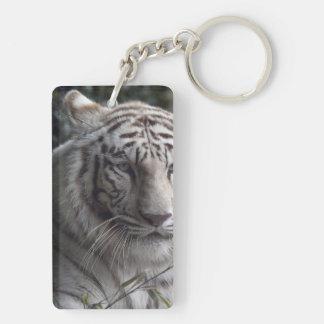 White Tiger Close-up Double-Sided Rectangular Acrylic Keychain