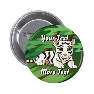 White Tiger Cub Button
