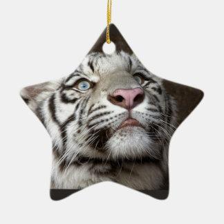 White Tiger Cub Ceramic Ornament
