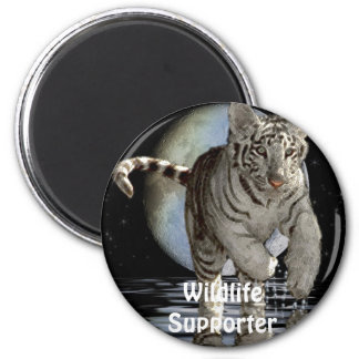 WHITE TIGER CUB Collection 2 Inch Round Magnet