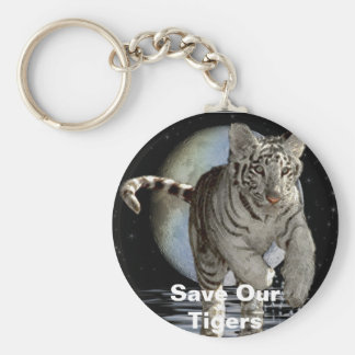WHITE TIGER CUB Collection Basic Round Button Keychain