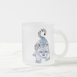White Tiger Cub Frosted Glass Coffee Mug
