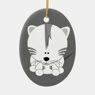 White Tiger Cub Oval Ornament