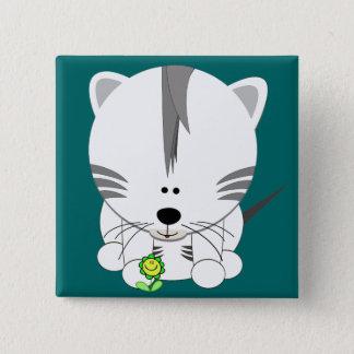 White Tiger Cub Pinback Button