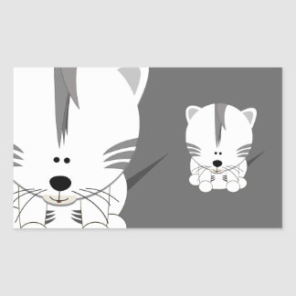 White Tiger Cub Rectangle Stickers
