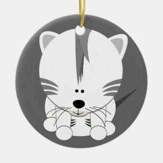 White Tiger Cub Round Ornament