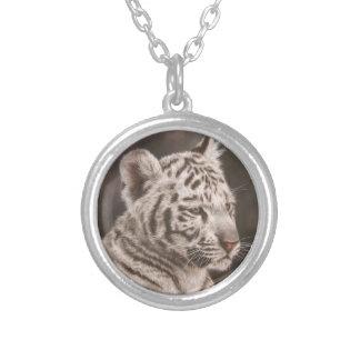 White Tiger Cub Round Pendant Necklace