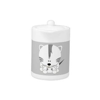 White Tiger Cub Small Teapot