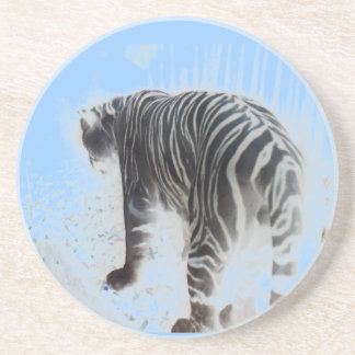 White Tiger digital art Coaster