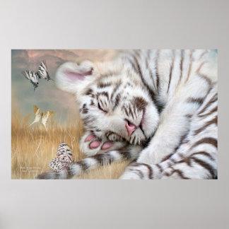 White Tiger Dreams Fine Art Poster/Print Poster
