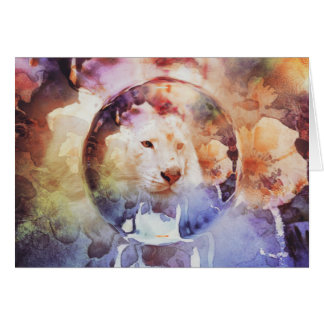 White Tiger Floral Bubble Grunge Greeting Card