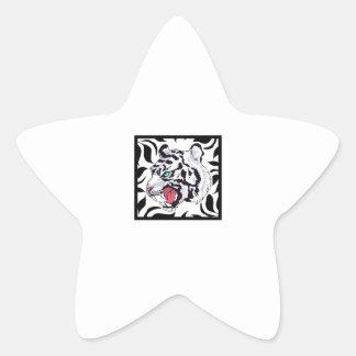 WHITE TIGER FRAMED STAR STICKER