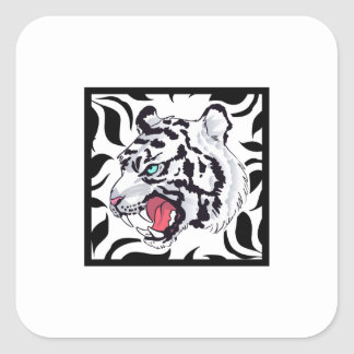WHITE TIGER FRAMED SQUARE STICKERS