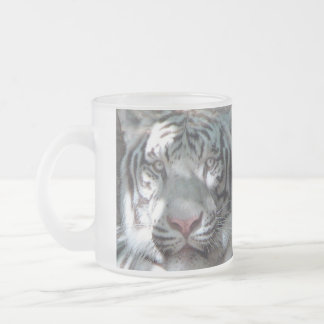 White Tiger Frosted Glass Coffee Mug