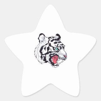 WHITE TIGER GROWL STAR STICKER