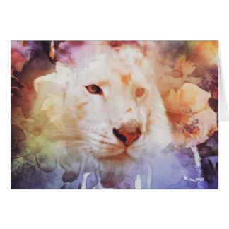 White Tiger Grunge Greeting Card