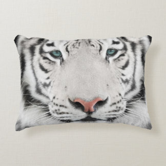 White Tiger Head Accent Pillow