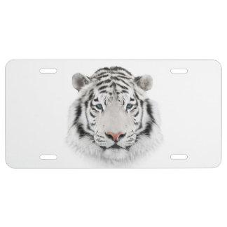 White Tiger Head License Plate