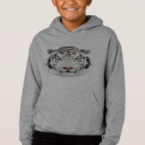 White Tiger Head Light Hoodie
