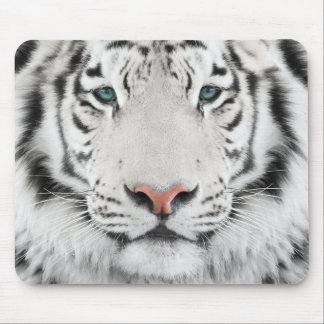 White Tiger Head Mouse Pad