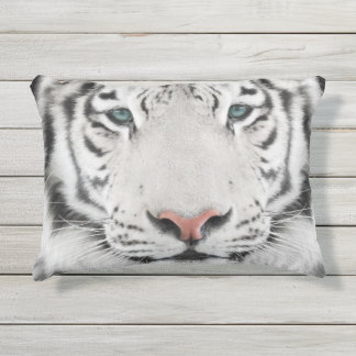 White Tiger Head Outdoor Accent Pillow