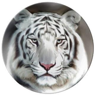 WHITE TIGER II PORCELAIN PLATE