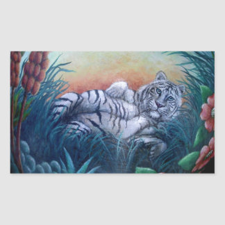White Tiger in Jungle Blue Eyes Rectangle Stickers