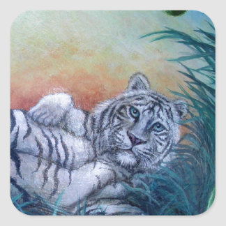 White Tiger in Jungle Blue Eyes Stickers