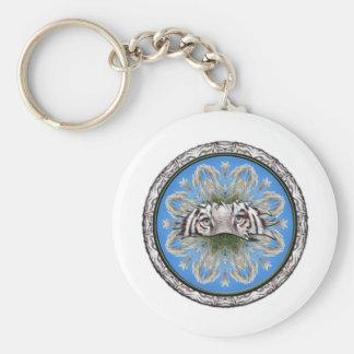 White Tiger Kaleidoscope Basic Round Button Keychain