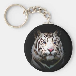 White Tiger Basic Round Button Keychain