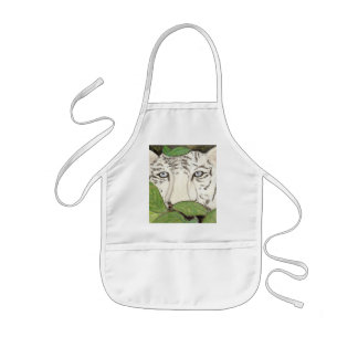 white tiger kids' apron