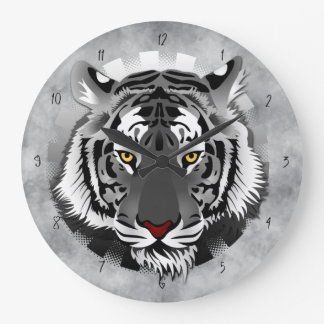 White Tiger Large Clock