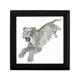White Tiger Leaping Jewelry Box