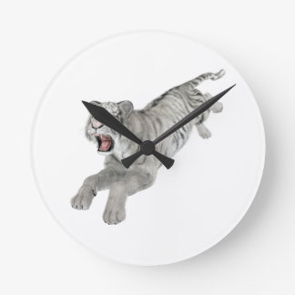 White Tiger Leaping Round Clock