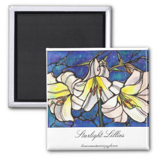White Tiger Lily Flowers Stained Glass Design Art 2 Inch Square Magnet