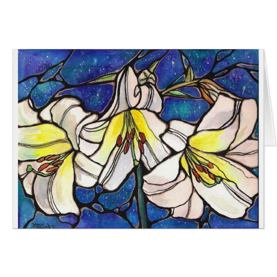 White Tiger Lily Flowers Stained Glass Design Art Card