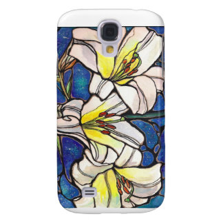 White Tiger Lily Flowers Stained Glass Design Art Samsung Galaxy S4 Case