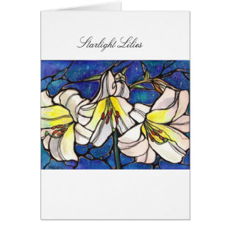 White Tiger Lily Flowers Stained Glass Design Art Greeting Card