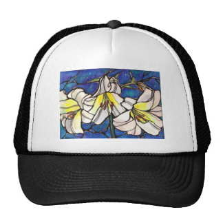 White Tiger Lily Flowers Stained Glass Design Art Trucker Hat