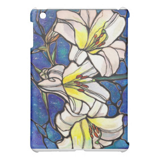 White Tiger Lily Flowers Stained Glass Design Art iPad Mini Cases