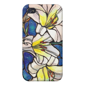 White Tiger Lily Flowers Stained Glass Design Art Cases For iPhone 4