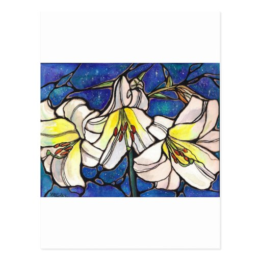 White Tiger Lily Flowers Stained Glass Design Art Postcards