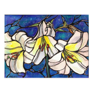 White Tiger Lily Flowers Stained Glass Design Art Postcard