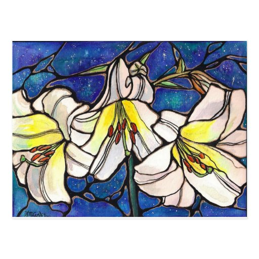 White Tiger Lily Flowers Stained Glass Design Art Post Card